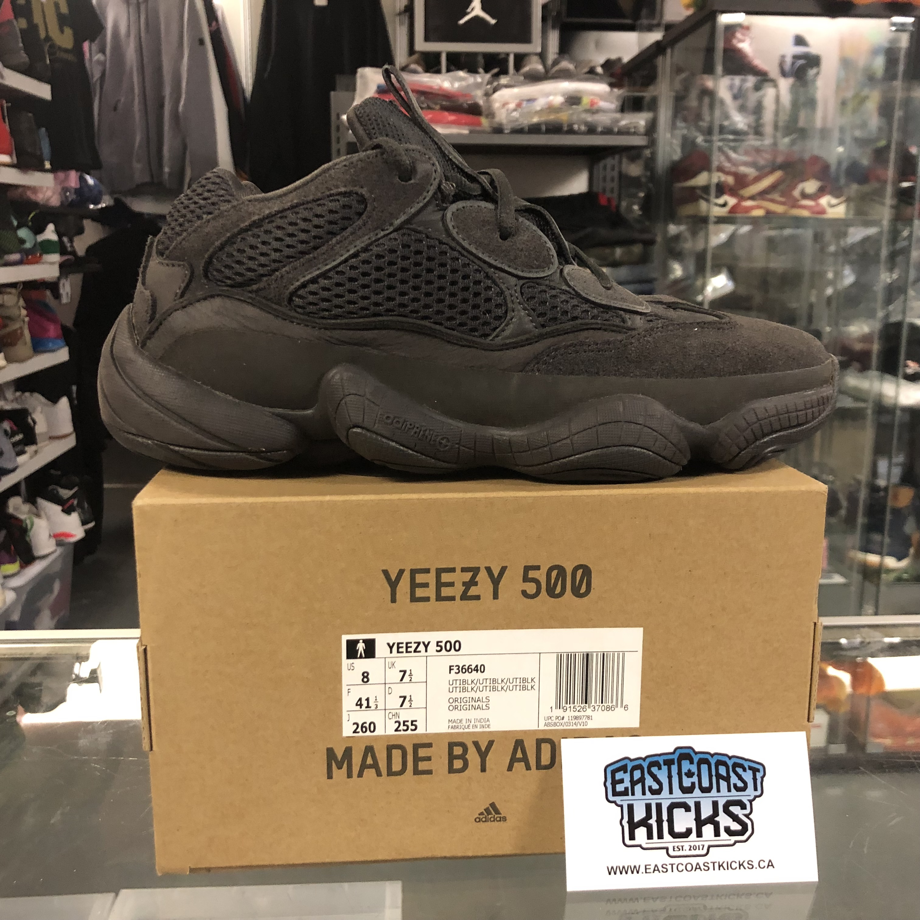 best service 5027d 542dd Preowned Adidas Yeezy 500 Utility Black Size 8