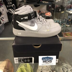 Preowned Air Force 1 Mid LV8 Grey and Black Size 8