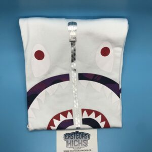 Bape White / Purple Camo Shark Face Tee Size M