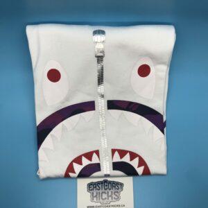 Bape White / Purple Camo Shark Face Tee Size XL