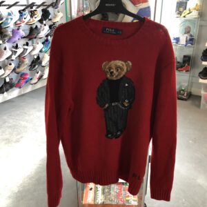 Preowned POLO Ralph Lauren Teddy Bear Crewneck Red Size L