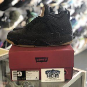 """Preowned Jordan 4 LEVI Black """"Blank Tag"""" Size 9"""