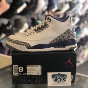 Preowned Jordan 3 True Blue Size 9