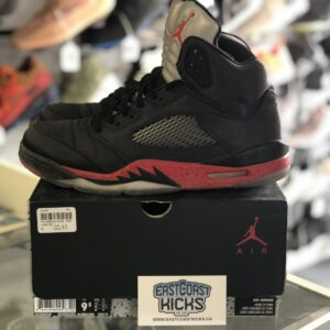 Preowned Jordan 5 Satin Black / Red Size 9.5