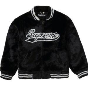 Supreme Faux Fur Varsity Jacket Size M