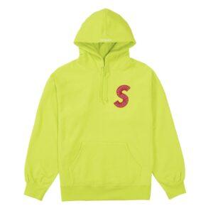 Supreme S Logo Hoodie Acid Green Size M