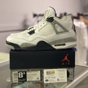 Preowned Jordan 4 White Cement Size 8.5