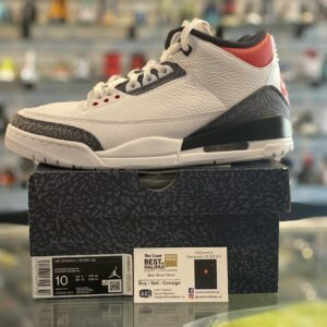 Preowned Jordan 3 Fire Red Denim Size 10
