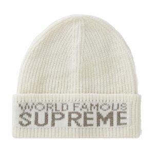 Supreme World Famous Beanie White