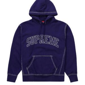 Supreme Stitches Hoodie Purple Size L