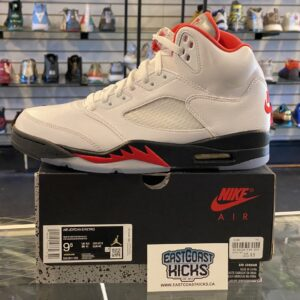 Jordan 5 Fire Red Silver Tongue Size 9.5