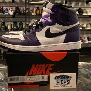 Preowned Jordan 1 Court Purple White Size 10