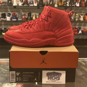 Preowned Jordan 12 Red Suede Size 9.5