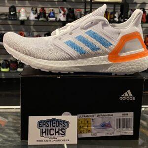 Adidas Ultra Boost 20 White Sharp Blue Size 9