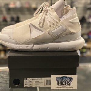 Preowned Adidas Y-3 Qasa High Triple White Size 11