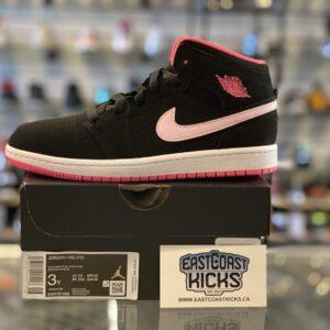 Jordan 1 Mid Black Digital Pink Size 3Y