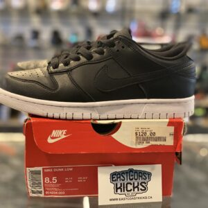 Preowned Nike Dunk Low Black Size 8.5