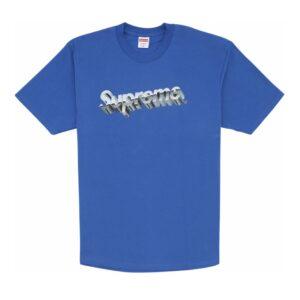 Supreme Chrome Logo Tee Blue Size M