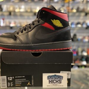 Preowned Jordan 1 Mid Black Red Size 12.5