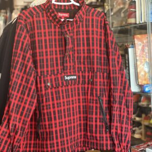 Preowned Supreme Jacket Plaid Red Size L